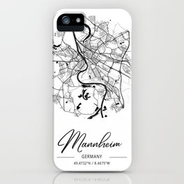 Mannheim Area City Map, Mannheim Circle City Maps Print, Mannheim Black Water City Maps iPhone Case