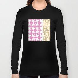 White, Pink, Gold Pattern Long Sleeve T-shirt