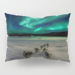 Winter Northern Lights Dog Sled (Color) Pillow Sham