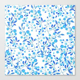 Modern hand painted teal blue watercolor floral pattern Canvas Print