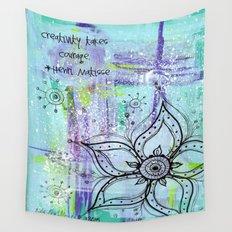 Teal Flower II Wall Tapestry