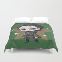 loki Duvet Covers featuring Loki chibi by rann