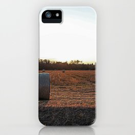 Hay bales in the Lomellina countryside at sunset iPhone Case