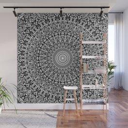 Grey Geometric Floral Mandala Wall Mural