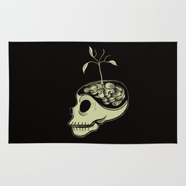 Cute Skulls Think Green Rug
