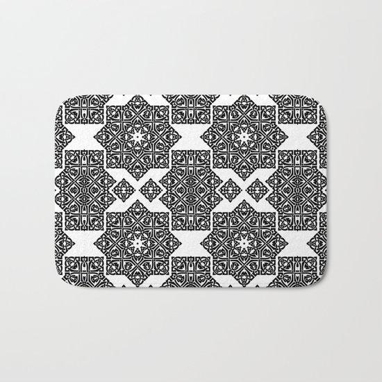 Celtic Knot Ornament Pattern Black and White Bath Mat