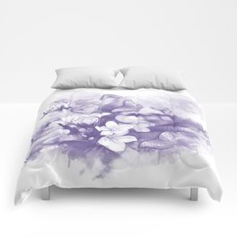 Ultraviolet tropical flowers and butterflies Comforters