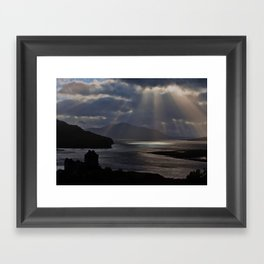 Sun Rays over Eilean Donal Castle Framed Art Print