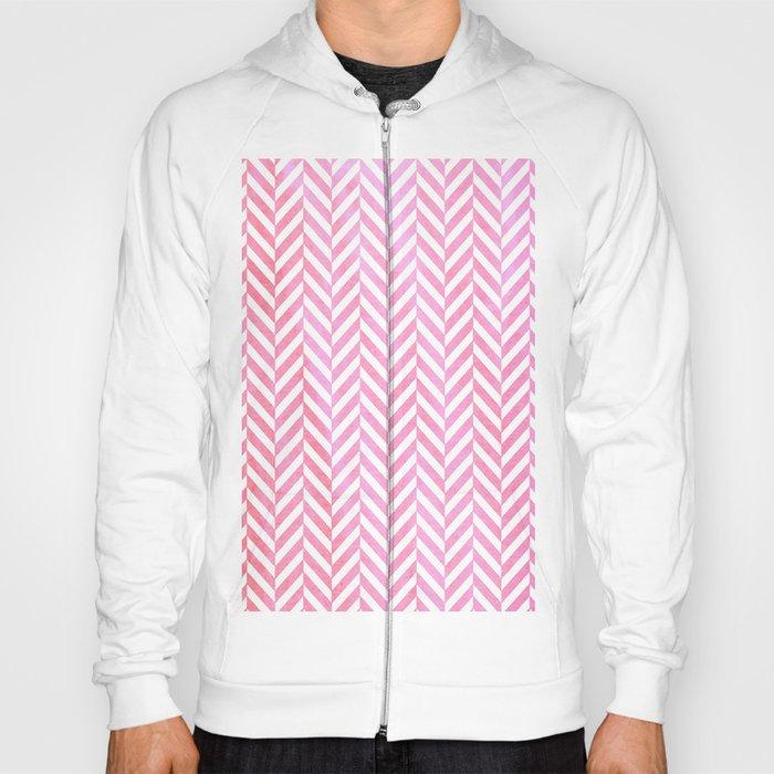 Watercolor Herringbone Chevron pattern - pink on white Hoody