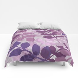 Ultra Violet Purple Lavender Leaves Pattern Comforters