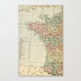 Old Map of the West of France Canvas Print