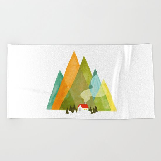 House at the foot of the mountains Beach Towel