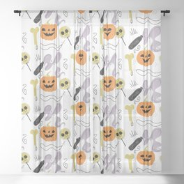 Happy halloween pumpkins, poison, bones and candies pattern Sheer Curtain