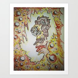 Face in the Cave Watercolor Ink Doodle Art Print