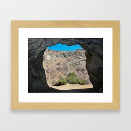 Looking out from the Bat Cave in Bronson Canyon Framed Art Print