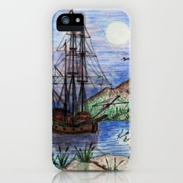 Tall Ship in the Moonlight iPhone Case