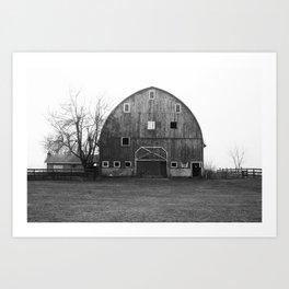 barn in fog Art Print