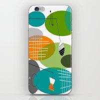 mid century modern iPhone & iPod Skins featuring Mid-Century Modern Atomic Ovals by Kippygirl