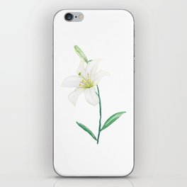 white lily watercolor iPhone Skin