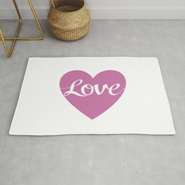 Love Script Pink Heart Design Rug