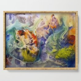 Heart Watercolor Abstract Painting Serving Tray