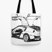 delorean Tote Bags featuring DELOREAN by carolin walch