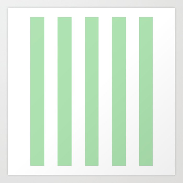 Celadon Green Solid Color White Vertical Lines Pattern Art Print By Makeitcolorful Society6