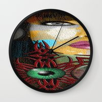 trippy Wall Clocks featuring Trippy by Müge Başak
