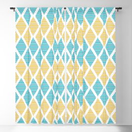 Geometric pattern with striped rhombus in blue and yellow palette Blackout Curtain