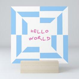 hello world 4 blue Mini Art Print