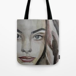 watercolor portrait beautiful girl Tote Bag