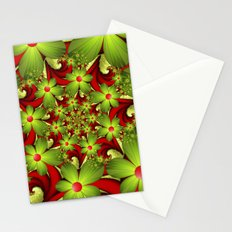 Fantasy Flowers Green And Red, Fractals Art Stationery Cards