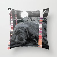 dreams Throw Pillows featuring Sweet Dreams Ursus Arctus  by Sandra Dieckmann