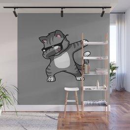 Dabbing Cat Grey Wall Mural