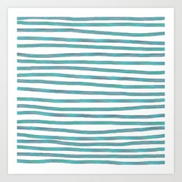 Ocean Green Hand-painted Stripes Art Print