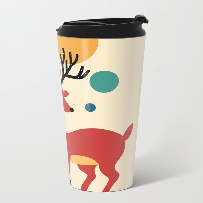 Deer Autumn Metal Travel Mug