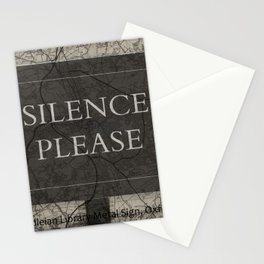 Silence Please Sign, Oxford, England, Uk Stationery Cards