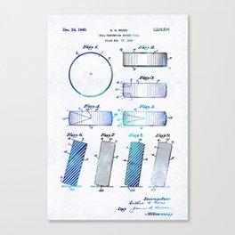 Blue Hockey Art - Hockey Puck Patent - Sharon Cummings Canvas Print