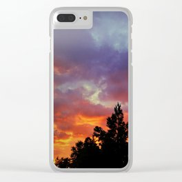 Sunset on Fire Clear iPhone Case