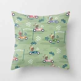 Ready to race mouse pattern Throw Pillow