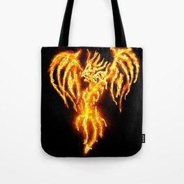 Dragon skeleton in flames Tote Bag
