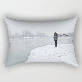 Girl on Snow Rectangular Pillow