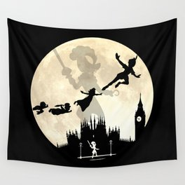 Peter Pan FullMoon Over London Wall Tapestry