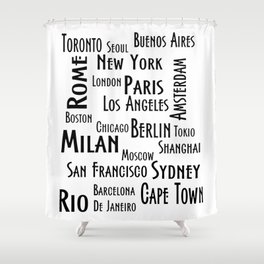 New York, Los Angeles and others city . Fashion Chic Home Decor Graphicdesign Shower Curtain