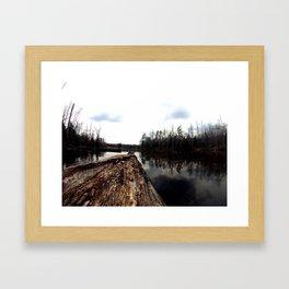 Log on Lake Framed Art Print