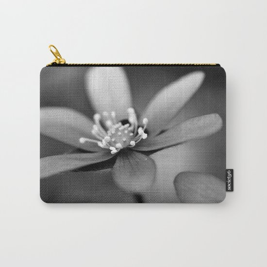 Blue spring flower Hepatica in bw Carry-All Pouch