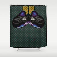 air jordan Shower Curtains featuring AIR JORDAN 5 BLACK by originalitypieces