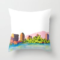 oakland Throw Pillows featuring Oakland by Erik Walker