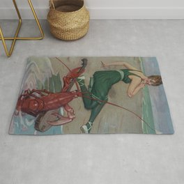 Vintage Lobster Guitar Serenade Illustration (1914) Rug