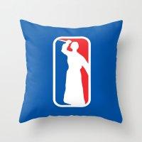 league Throw Pillows featuring Psycho League by dutyfreak